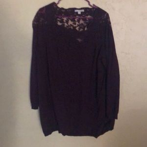 Anthology burgundy sweater with lace accent.